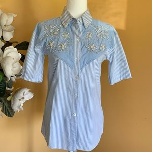 Jane Ashley Chambray Embroidered Striped Shirt Top